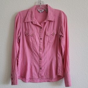 ROPER Pearl Snap Button Down Shirt Small Pink